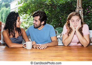 femme, timide, unique, attente, dater, homme