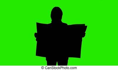 femme, tir, silhouette, journal, lecture