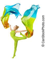 femme, tissu, coloré, danse, sur, voler, blanc