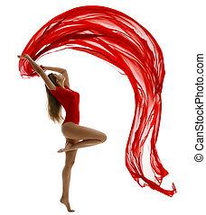femme, tissu, danse, gymnaste, voler, collant, rouges, danse...