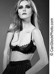 femme, tissu, mode, noir, fascination, sexy, jeune, modèle, élevé, portrait, élégant, caucasien, look., beau