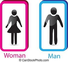 femme, &, toilettes, vecteur, signe, homme