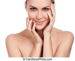 femme, toucher, frais, skin., jeune, isolé, face., sain, elle, beau, blanc
