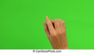 femme, toucher, gestes, main