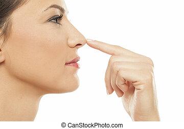femme, toucher, nez, elle