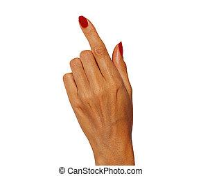 femme, toucher, quelque chose, pointage, main