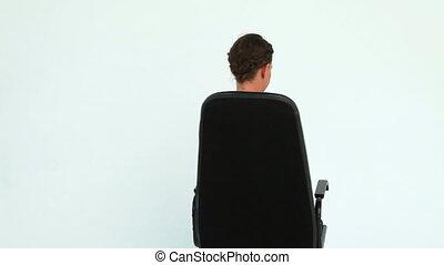 femme, tourner, elle, presse-papiers, tenue, chaise