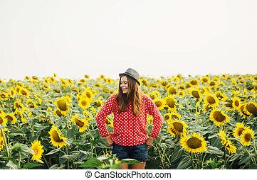 femme, tournesol, field., portrait, girl, sensuelles