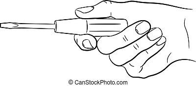 femme, tournevis, illustration, main, vecteur, tenue, monochrome