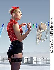 femme, traîne, lavé, sous-vêtements