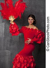 Femme Equipement Traditionnel Espagnol Grand Coiffure