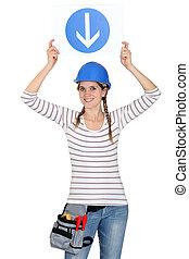 femme, trafic, tenue, signe
