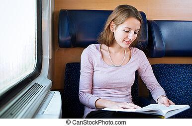 femme, train, jeune, quoique, livre, lecture