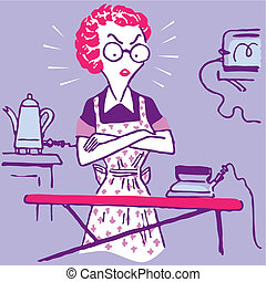 femme, travail foyer, conjugal, femme foyer, vecteur, ...