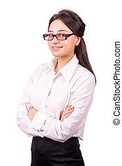 femme, traversé, jeune, lunettes, mains