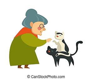femme, tricot, chandail, retraite, chats, vector., vieux, jouer