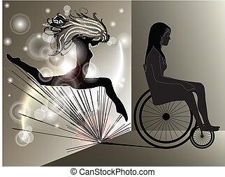 femme triste, dans, fauteuil roulant, à, sauter, fille,...