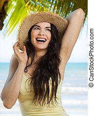 femme tropicale, plage, jeune, heureux