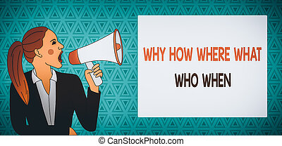 femme, trouver, jeune, solutions, rectangulaire, queue cheval, pourquoi, texte, projection, comment, quel, box., demander, où, cris, signe, questions, photo, veste, question, when., loudhailer, conceptuel
