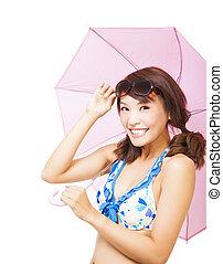 femme, umbrella., jeune, tenue, sourire