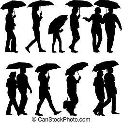 femme, umbrella., silhouettes, vecteur, noir, sous, illustrat, homme