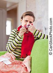 femme, usages, malade, mouchoir