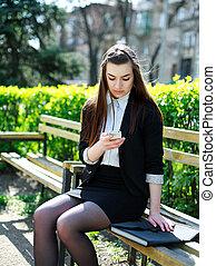 femme, usages, téléphone, business