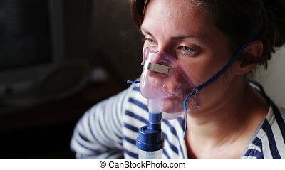 femme, usures, poumons, nebuliser., inhalation, conduites,...