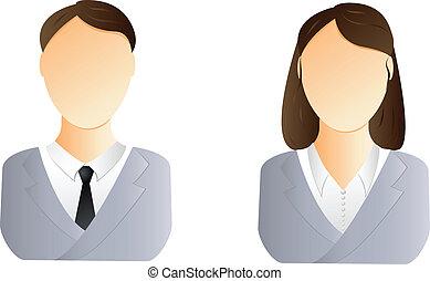 femme, utilisateur, homme, icône