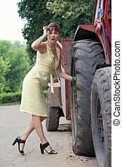 femme, véhicule