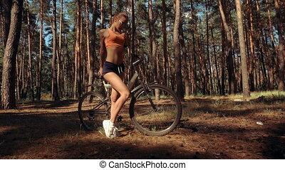 femme, vélo, charmer