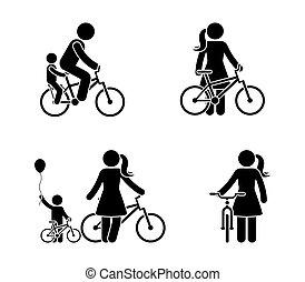 femme, vélo, figure, crosse, icône, homme