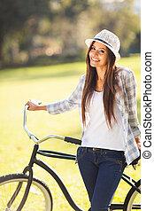femme, vélo, jeune