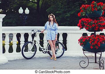 femme, vélo, jeune, joli