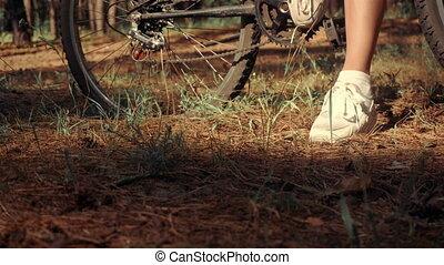 femme, vélo, joli