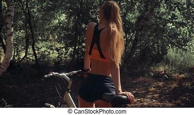 femme, vélo, magnifique