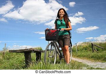 femme, vélo