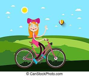 femme, vélo, pré, fond