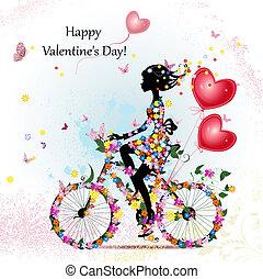 femme, vélo, valentines