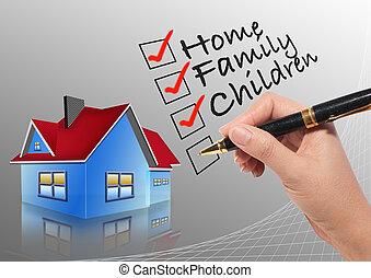 femme, vérification, liste, main, fond, maison