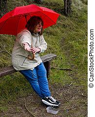 femme, vérification, pour, pluie