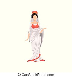 femme, vêtements, illustration, rome, traditionnel, romain, vecteur, fond, citoyen, ancien, blanc