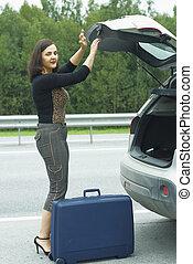 femme, valise
