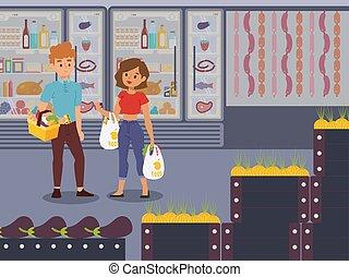 femme, vecteur, dessin animé, produits, illustration., épicerie, jeune, clients., caractères, achat, couple, magasin, style, magasin, gens, choisir, commodité, plat, homme, supermarché, nourriture