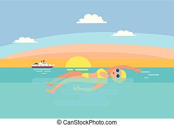 femme, vecteur, dos crawlé, illustration, natation