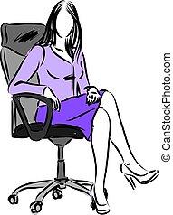 femme, vecteur, illustration affaires, séance