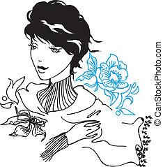 femme, vecteur, jeune, joli, dessin
