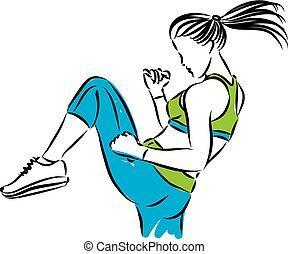 Femme, boxe, coup de pied, fitness. Fitness, femme, boxe, illustration, coup de pied.
