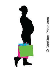 femme, vecteur, pregnant