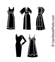 femme, vecteur, robes,  Illustration